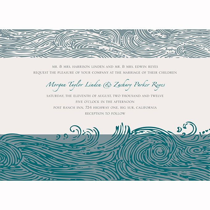 Beach Wedding Invitations - The crashing waves in this bold design have an artistic woodblock-printing quality.  Ocean of Love invitation, $189 for 100 invitations, Smudge Ink for Wedding Paper Divas.