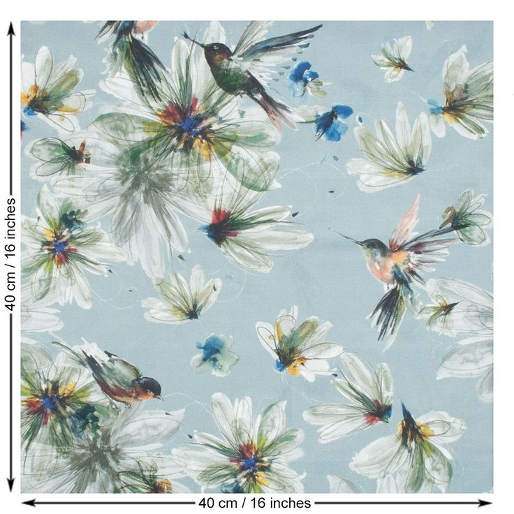 Hummingbird Print Cotton Lawn Fabric. Basalt Grey.
