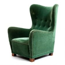 1650/833 - Fritz Hansen: High-backed easy chair with beech legs. Seat, sides and back upholstered with green velour. Model 1672. Manufactured by Fritz Hansen. 1940's.