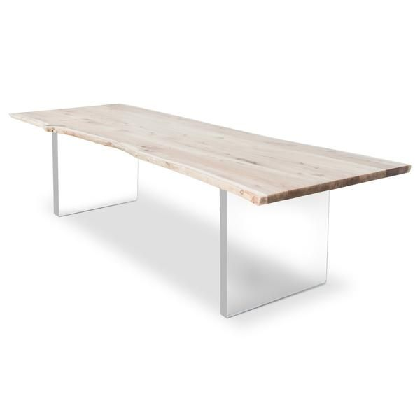 Live Edge Solid Bleached Walnut Slab Dining Table In 2020 Walnut