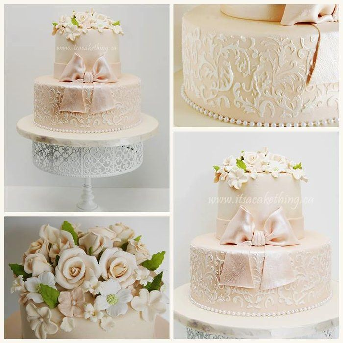 Floral Stenciled beauty! - by itsacakething @ CakesDecor.com - cake decorating website #communion #confirmation #birthday #engagement #cake #cakes #vintage #wedding #floral #stencil #damask #bow #champagne #ivory #lacelook #itscakething
