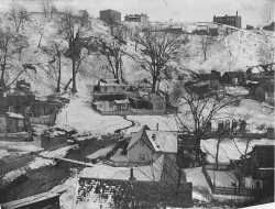 Black and white photograph of Swede Hollow, c.1910.