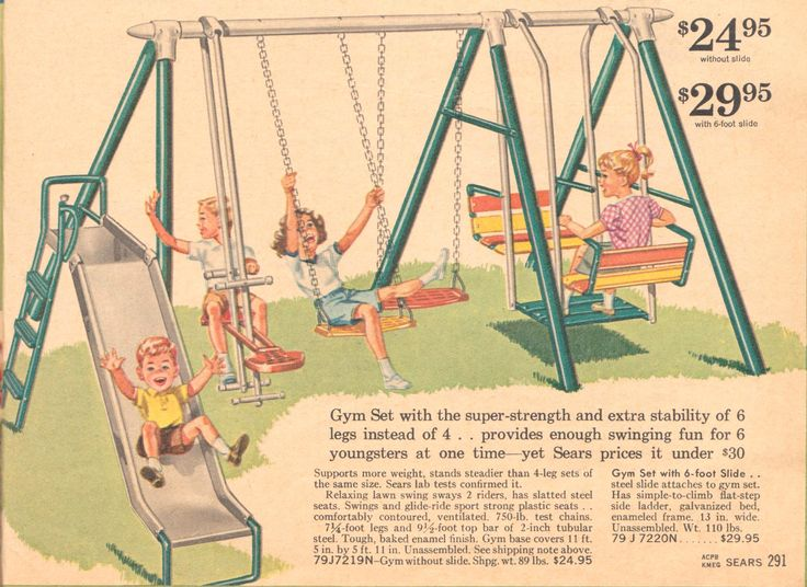 "I remember.. the coolest swing sets had a sliding board, swings, a teeter totter and a glider.  We would swing as high as we could but always feared ""going over the top""."