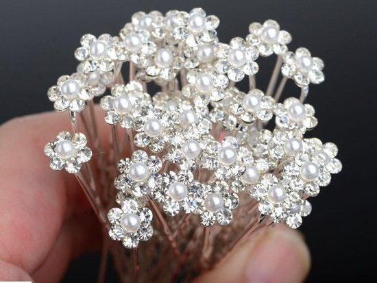 Wholesale 40Pcs Wedding Bridal Clear Crystal Pearl Hair Pins Hair Accessories-in Hair Jewelry from Jewelry on Aliexpress.com | Alibaba Group