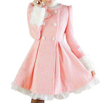 Vintage Rond Collar Bowknot Embellished Flouncing Long Sleeves Women's Coat, PINK, M in Jackets & Coats | DressLily.com