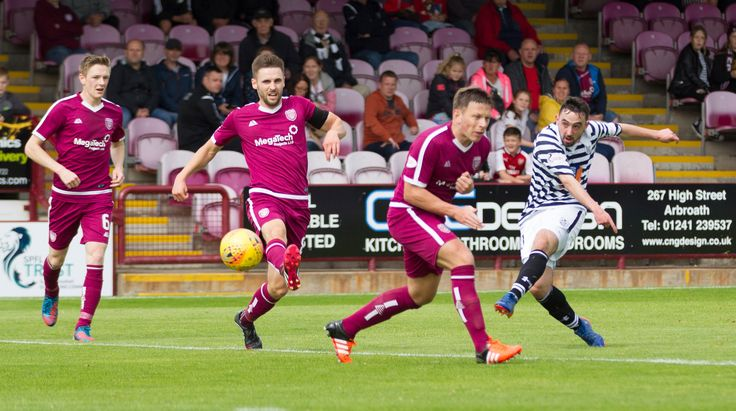 Queen's Park's Anton Brady has a shot during the SPFL League One game between Arbroath and Queen's Park.