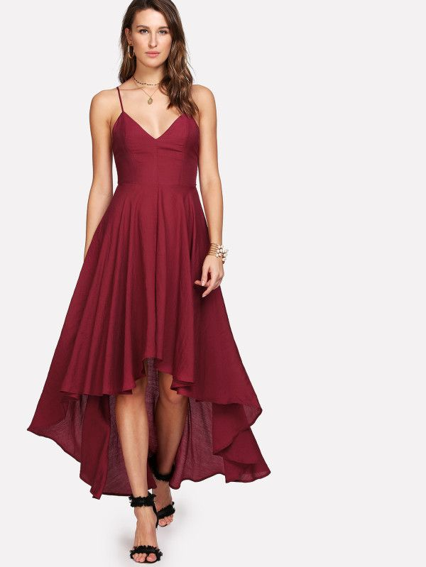 fbec583e9d Shop Lace Up Backless Dip Hem Cami Dress online. SheIn offers Lace Up  Backless Dip Hem Cami Dress & more to fit your fashionable needs.