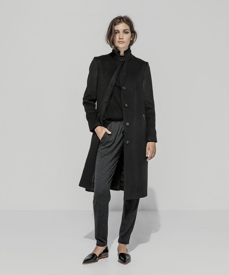Lambswool Zip Pocket Girlfriend Coat (Black) Cashmere Merino Turtle Neck Raglan Sweater (Black) Boiled Wool Jersey Tapered Pant (Charcoal Marle)
