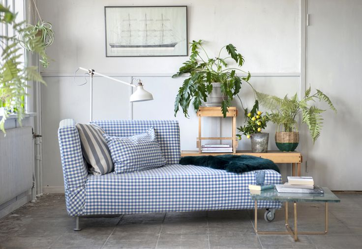 Simple chic. Falsterbo chaise lounge cover in Gingham Check Blue/White. Cushion cover in Stockholm Stripe Deep/Sand Beige and Gingham Check Blue/White. www.bemz.com