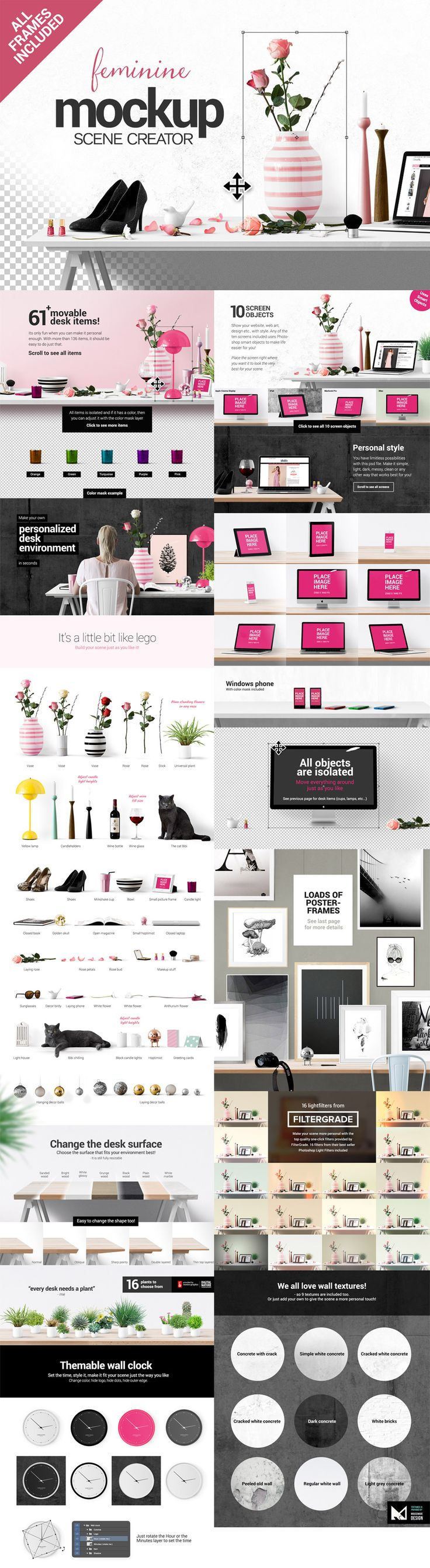 Feminine Mockup Scene Creator by Place.to | The Essential, Creative Design Arsenal (1000s of Best-Selling Resources) Bundle Feb 2015 from Design Cuts