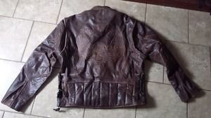 Mens X-Element Distressed Brown Leather Motorcycle Jacket Size X Annapolis Valley Nova Scotia image 1