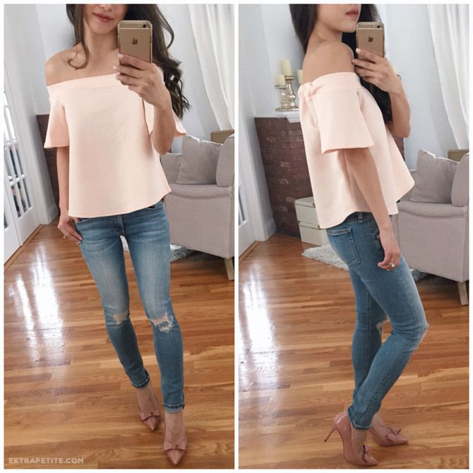 pink off shoulder top, bow pumps, rag bone jeans // Extra Petite | Petite Fashion, Style Tips and DIY