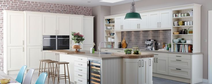 The Barnes shaker kitchen finished in alabaster.  Available with two other finishes or painted.  From Units Online