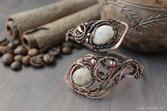 Wirewrap  Bracelet, fossil coral  bracelete, handmade bracelet, copper bracelete,wirewrapped bracelet