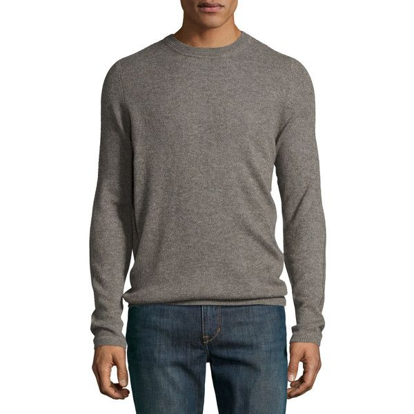 Patrick Assaraf Crewneck Cashmere Sweater ($199) ❤ liked on Polyvore featuring men's fashion, men's clothing, men's sweaters, brown, mens cashmere sweaters, mens brown sweater, mens crewneck sweaters, mens crew neck sweaters and mens slim fit sweater