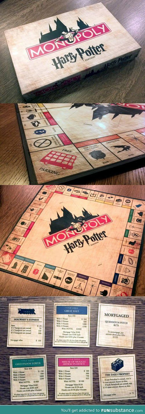 Monopoly, a very popular board game which has been adapted to the Harry Potter scenario. Using characters from the books, along with situations similar to those in the books.