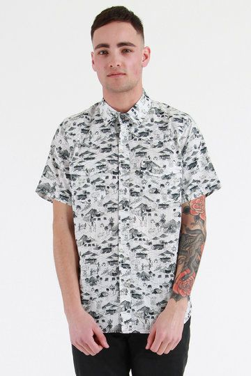 The Cairo Short Sleeve Shirt from Volcom is covered in an Egyptian inspired print - flecked with robots. Yes, that's right - camels, tents and robots. We even spotted a camel straddling a rocket. It's absa-chuffin-lutely incredible. And historically correct too. Ahem.