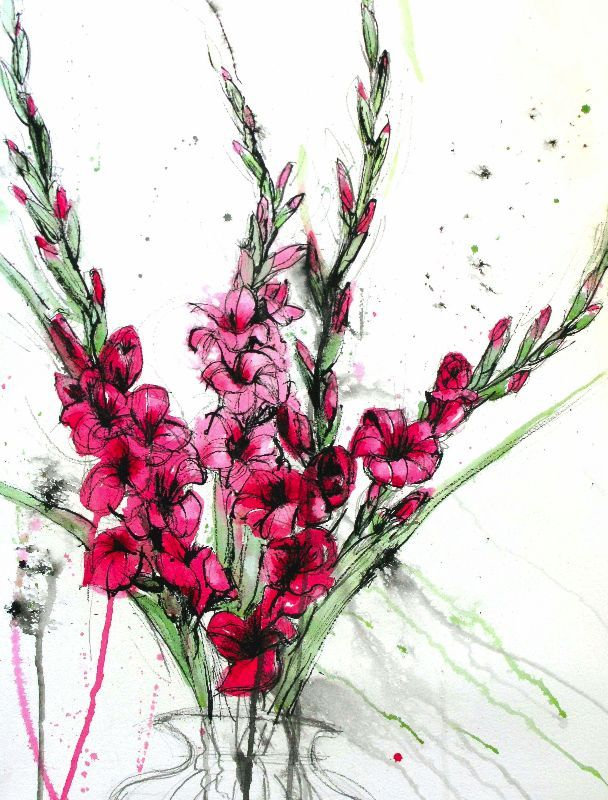 Gladioli Lipstick by lauraboyd  Drawn with a stick dipped in ink with added pink watercolour ,the buds of the flowers resemble lipstick