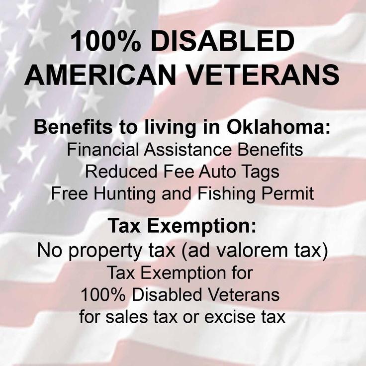 DAV Oklahoma 100% Disabled American Veterans Pay No