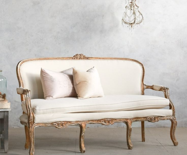 vintage louis xv french style shabby gilt upholstered settee
