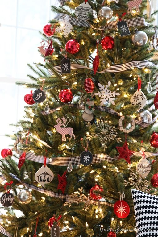 DIY: Red,Black and White tree -How To Get The Look !! All The Simple DIY Details  !! from finding home