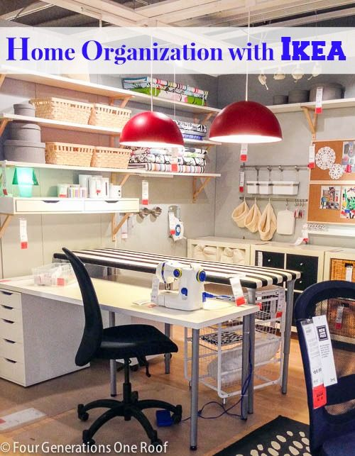 Home organization ideas IKEA. Craft, sewing, entry and office storage ideas.