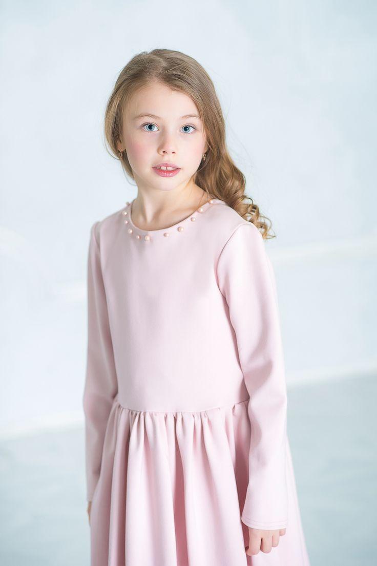 Жемчужное платье цвета пудры💫. 100% попадание в #мимими 💕 Застежка на молнию сзади, расшито жемчужинами, отрезное по талии, пышная юбочка, длинный рукав. Стильное и нежное ⛅