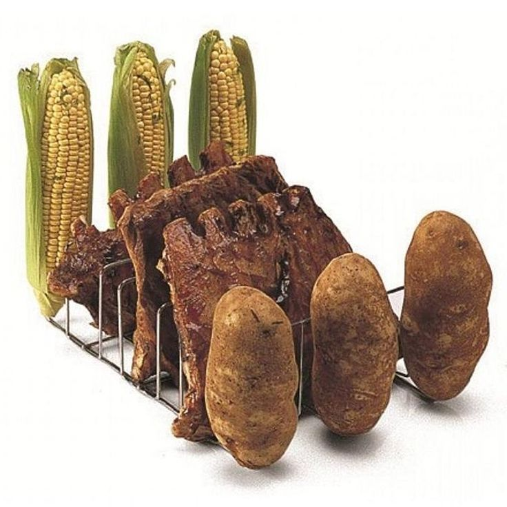 BBQ Rib/Potato/Corn Grill Rack for Smokers, Roasters or Grills