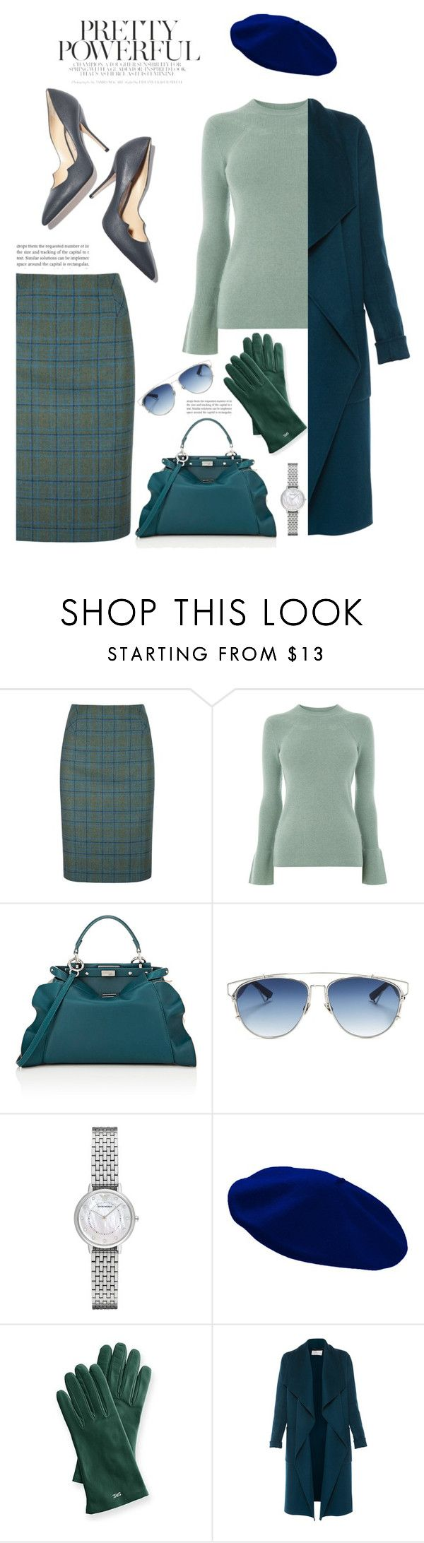 """Evergreen'"" by dianefantasy ❤ liked on Polyvore featuring DUBARRY, Warehouse, Fendi, Paul Andrew, Christian Dior, Emporio Armani, Mark & Graham, L.K.Bennett, Winter and polyvorecommunity"