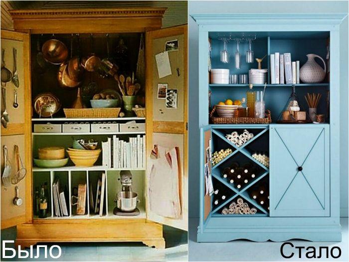 Переделка старого кухонного шкафа в домашний мини-бар.