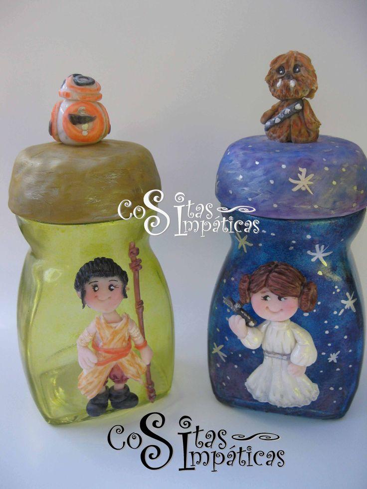Frasco Princesa Leia y Rey.  Hecho en porcelana fría por Cositas Simpáticas ^_^