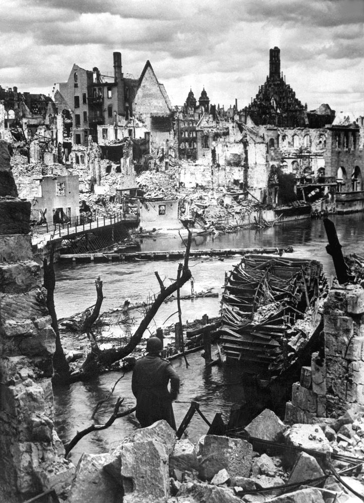 8 February 1943 - Nuremberg is heavily bombed - Choked with debris, a bombed water intake of the Pegnitz River no longer supplies war factories in Nuremberg, Germany, vital Reich industrial city and festival center of the Nazi party.  ~Via Jacob Albers
