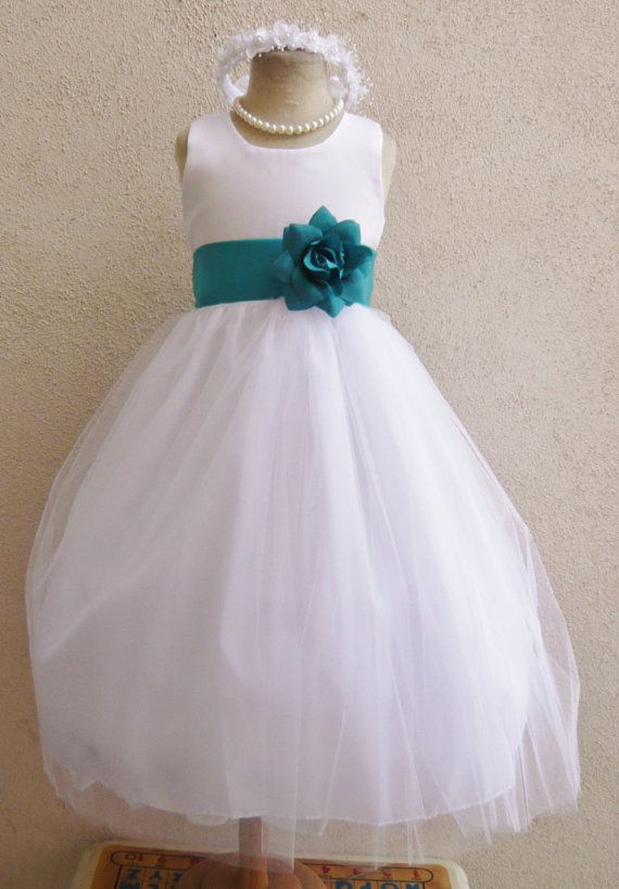 Flower Girl Dresses  WHITE with Teal Mermaid por NollaCollection