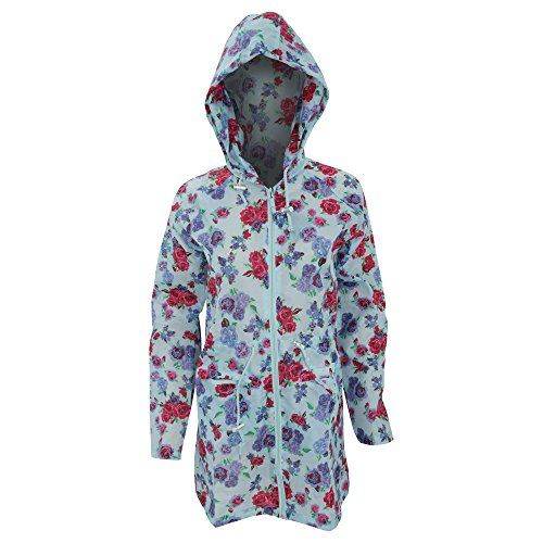 Womens/Ladies Floral Rose Pattern Hooded Packaway Raincoat (14) (Blue) * To view further for this item, visit the image link.
