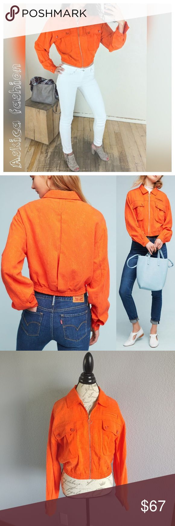 """Anthropologie Cartonnier Jacquard Eisenhower Jacke Details: 61% Lyocell, 39% linen, orange color, Front faux pocket , Front button flap pocket, Zip front, Dry clean, length approx. 20"""". Offers are welcome, but no trades, sorry. Anthropologie Jackets & Coats"""