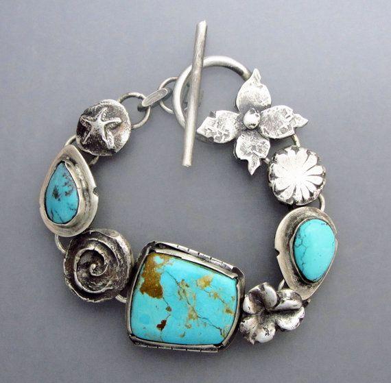 Turquoise Flower Bracelet 2 by Temi on Etsy