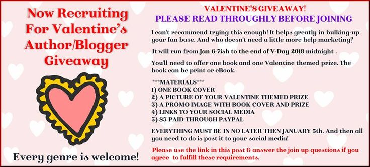 Authors, Bloggers!  Need to bulk up your social media & email list?  Join the 2018 Valentine's Day Giveaway on FB Facebook, Twitter, Bookbub, Amazon Page  promoted on Rafflecopter (everyone gets a copy of email addresses entered, signing up for all is required to enter giveaway) FREE to join, $3 donation to cash Grand Prize Provide one book & one holiday-themed prize…