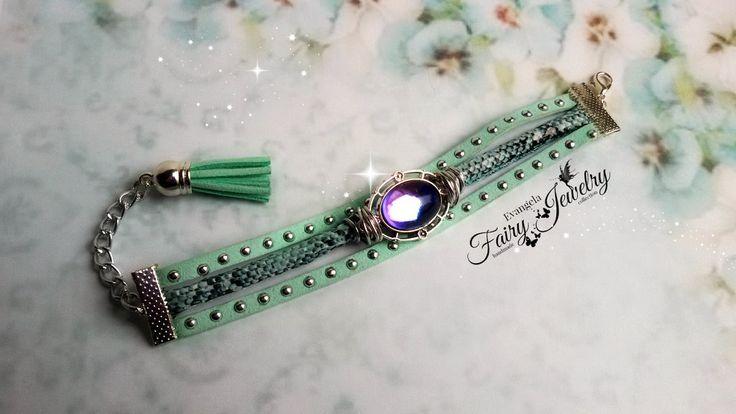 Bracciale verde  acqua cammeo cabochon nappa vetro bicolore catena alluminio alcantara regolabile serpente ecologico, by Evangela Fairy Jewelry, 11,00 € su misshobby.com