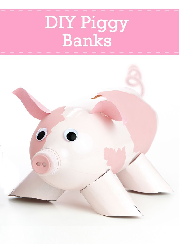 make piggy banks from old bottles