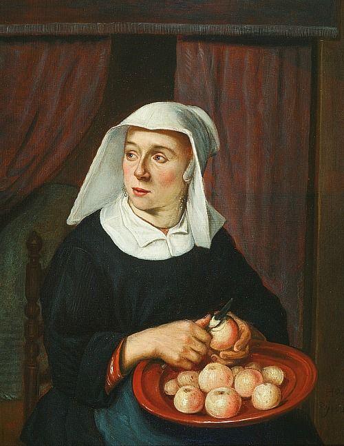 Reynier Hals ~ 'Woman Peeling Apples', 17th century