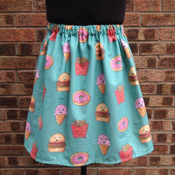Kawaii Fast Food Skirt, Turquoise