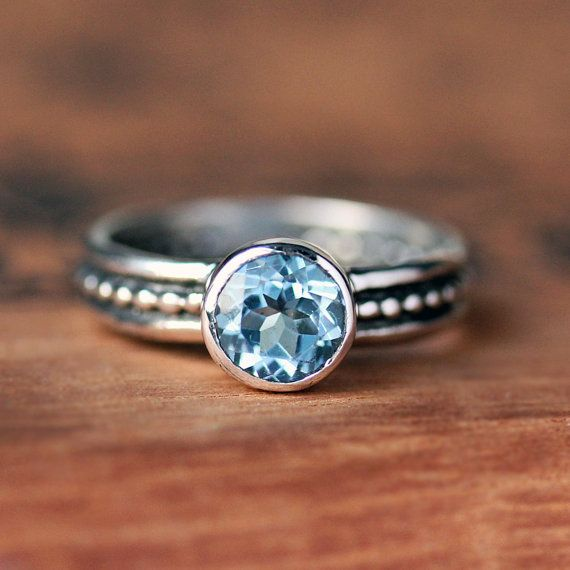 Blue aquamarine gemstone ring - bezel - stack ring - oxidized - recycled sterling silver - March birthstone - modern - Cool Crush ring on Etsy, $3,573.33