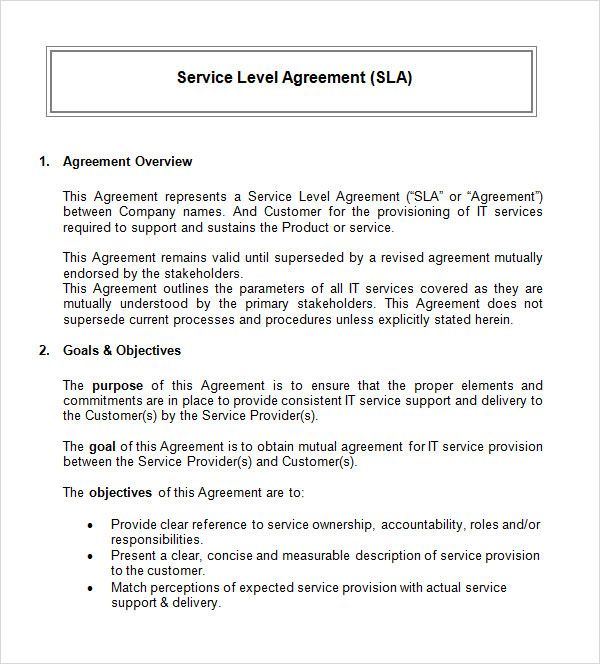 Service Level Agreement Template Service Level Agreement
