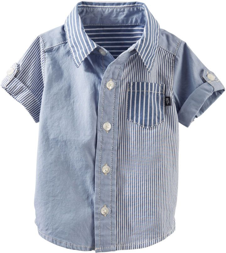 With a fresh take on patchwork, this shirt will be a fast favorite over flat-front shorts. Button-front design Pocket detail Roll-tab sleeves Pre-washed for softness 100% cotton poplin & oxford Imported Machine washable See other pieces in the Baby B'gosh NB-24M collection Brand: Osh Kosh Retailer: OshKosh-BGosh Similar Item Here  Price : 13.20$