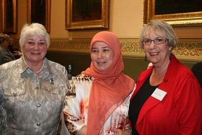 By Anne Scott, OAM, Former President of the Olave Baden-Powell Society HRH Princess Azizah of Malaysia came to Sydney for the first meeting of the Australian Friends of the Asia Pacific WAGGGS of which she is patron. L-R: Anne Scott OAM,  Princess Azizah and Hawthorn Rotary Club President Ngaire Cannon