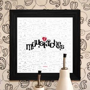 I love moustaches Art Print. If like me you are in awe of moustaches then this is my gift to you, a fantastic fuzzy, twirly moustache print for all you lovers of top lip fluff.  Buy it today from £25.00  http://booandboy.co.uk/product/moustache-print/