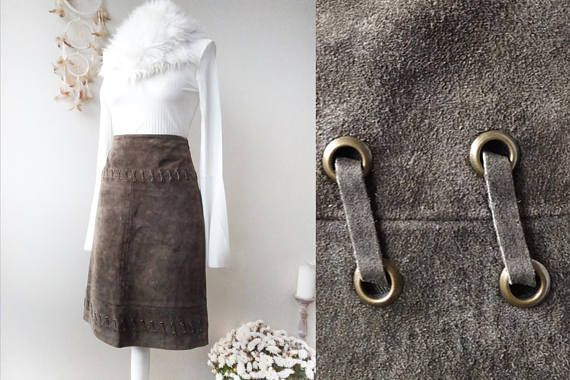SHOP NOW |! #Vintage Lace up #Brown #Genuine Real #Suede Heavy #Leather  #Skirt #fashion   #fashionblogger #etsy #etsyfinds #christmas #90s #casual #elegant #fitted #leathergoods #forsale #shopping