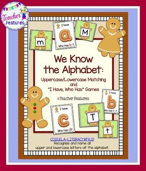 "Students will have fun learning the alphabet with this cute gingerbread theme! This pack has 25 pages of gingerbread fun! Two games are included. - ""I Have, Who Has"" Alphabet Recognition game - Uppercase/Lowercase Alphabet Match game Common Core friendly: CCSS.ELA-LITERACY.RF.K.1.D Recognize and name all upper"