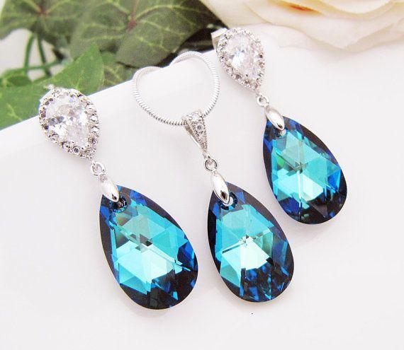Something Blue Wedding Jewelry Bridal Jewelry Bridal Necklace Bridal Earrings (Large) bermuda blue Swarovski Crystal drops Bridesmaid Gifts
