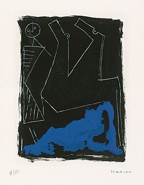 "Marino Marini (Pistoia 1901 - 1980 Viareggio) ""Mattutino"" (Morgenandacht) Farbaquatintaradierung 1963 58,5 x 45,1 cm Pr. 40 x 30 cm"